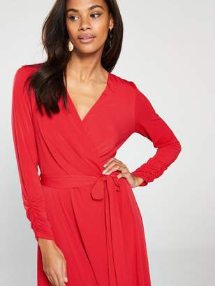 Wallis Wrap Midi Dress - Red