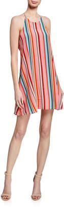 Alice + Olivia Kalia Striped Halter Tie-Back Mini Dress