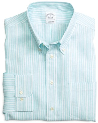 Brooks Brothers Slim Fit Double Alternating Stripe Linen Sport Shirt