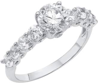 Swarovski Generic 3/4 Carat T.G.W. Round-Cut CZ and Crystal Sterling Silver Engagement Ring