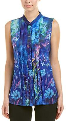 T Tahari Women's Aliza Print Sleeveless Blouse