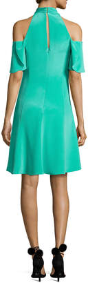 Neiman Marcus Kobi Halperin Avril Cold-Shoulder Silk Crepe de Chine Cocktail Dress