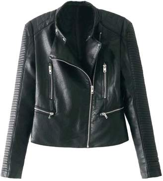 Goodnight Macaroon 'Willow' Quilted Sleeve Biker Faux Leather Jacket
