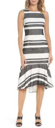 Adrianna Papell Sleeveless Stripe Trumpet Sheath Dress