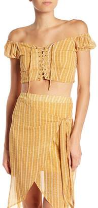 Dee Elly Off-the-Shoulder Lace-Up Blouse