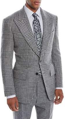 Tom Ford Men's Atticus Peak-Lapel Two-Button Glen Check Jacket