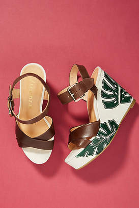 Vicenza Palm Leaf Wedge Sandals