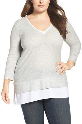 Vince Camuto Layer Look Mixed Media Top (Plus Size)