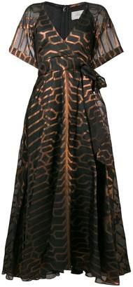 Temperley London printed short sleeve evening dress