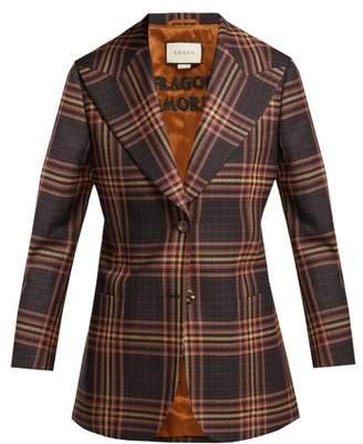Gucci Peak Lapel Tartan Wool Blazer - Womens - Black Burgundy