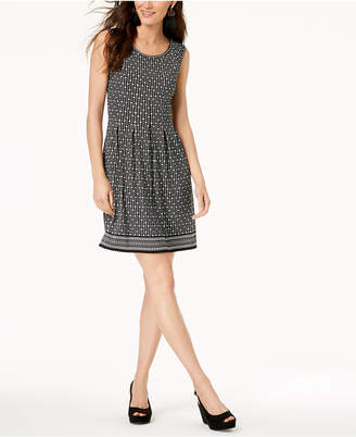 Maison Jules Printed Pleated Fit & Flare Dress, Created for Macy's