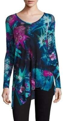 Fuzzi Tropical Floral-Print V-Neck Asymmetrical Top