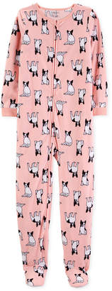 Carter's Carter Little & Big Girls Dog-Print Fleece Footed Pajamas