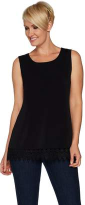 Joan Rivers Classics Collection Joan Rivers Jersey Knit Tank with Shimmering Crochet Hem