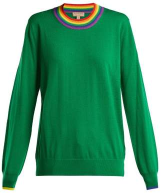 Burberry Dales Rainbow Knit Wool Sweater - Womens - Green