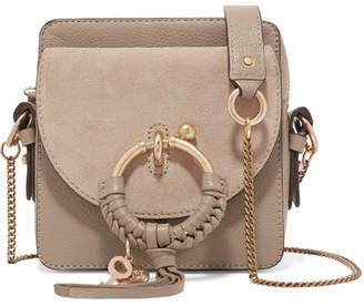 See by Chloe Square Textured-leather And Suede Shoulder Bag - Gray