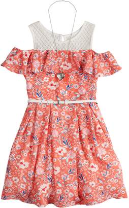Beautees Girls 7-16 Ditzy Floral Cold Shoulder Belted Skater Dress with Necklace