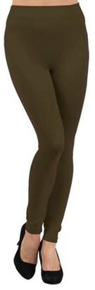 BEIGE K-Cliffs Solid Color Seamless Fleece Lined Legging, Warm Red