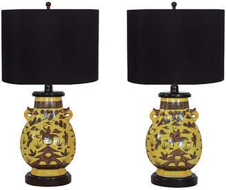 One Kings Lane Vintage Paul Hanson Urn Lamps - Set of 2
