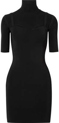 Dion Lee Density Cutout Stretch-knit Turtleneck Mini Dress - Black