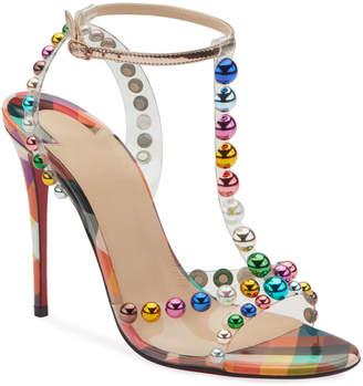 Christian Louboutin Faridavavie See-Through Vinyl/Patent Red Sole T-Strap Sandals