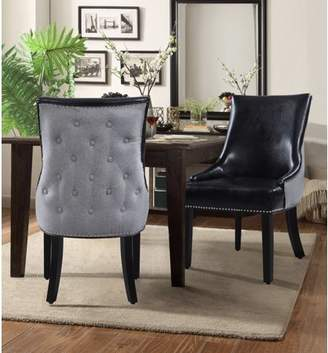 Chic Home Cooper PU Leather, Linen Swoop Arm Dining Chair, Set of 2
