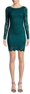 Jump Pleated Long Sleeve Lace Dres