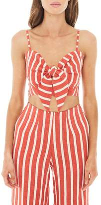 Faithfull The Brand De Fiori Stripe Linen Crop Top