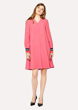 Paul Smith Women's Pink V-Neck Swing Dress With Stripe Cuff Detail