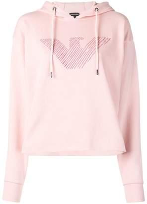 Emporio Armani embroidered logo hoodie