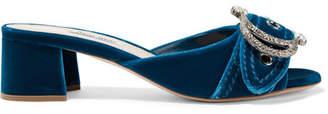 Embellished Velvet Mules - Cobalt blue