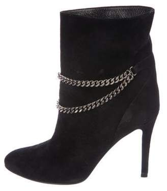 Saint Laurent Suede Chain-Link Boots