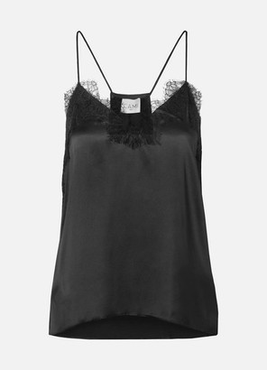 CAMI NYC The Racer Lace-trimmed Silk-charmeuse Camisole - Black