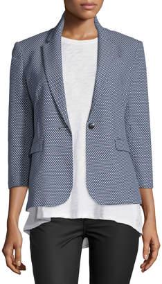 ATM Anthony Thomas Melillo 3/4-Sleeve Jacquard Schoolboy Jacket, Navy/White