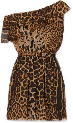 4d19bf842e Saint Laurent One-shoulder Ruffled Leopard-print Silk-chiffon Mini Dress -  Brown