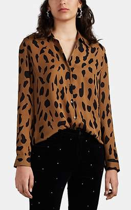 L'Agence Women's Nina Animal-Print Silk Button-Front Blouse