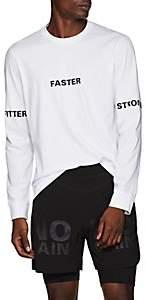 """BLACKBARRETT Men's """"Fitter Faster Stronger"""" Cotton Long-Sleeve T-Shirt - White"""