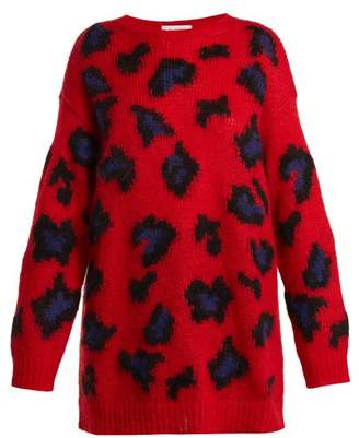 Valentino Leopard Print Mohair Blend Sweater - Womens - Red Print