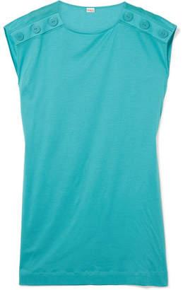 Eres Pop Button-detailed Cotton-jersey Mini Dress - Turquoise