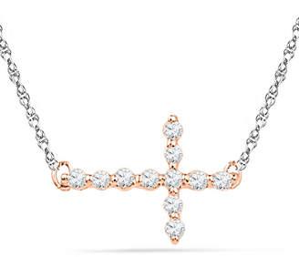 Zales 1/20 CT. T.W. Diamond Sideways Cross Necklace in 10K Rose Gold