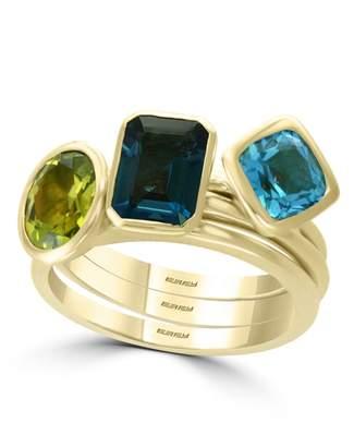 Effy Ocean Bleu 14K Yellow Gold Blue Topaz London Blue Peridot Ring