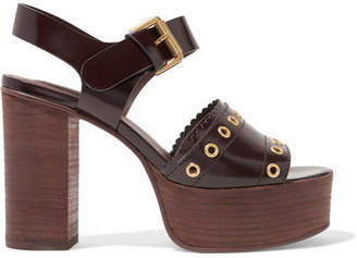See by Chloe Nora Eyelet-embellished Glossed-leather Platform Sandals - Dark brown