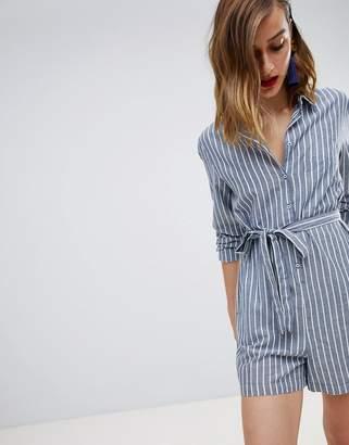 Warehouse Stripe Tie Waist Shirt Romper