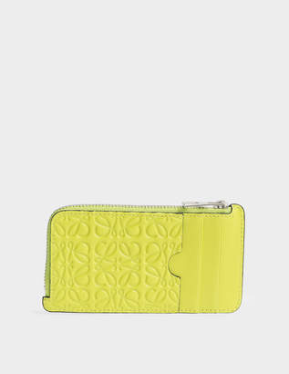 Loewe Coin-Card Holder in Yellow Lemon Engraved Calfskin