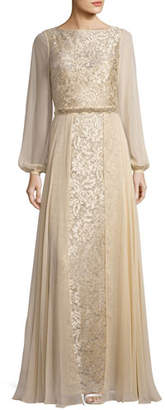 Rickie Freeman for Teri Jon Long-Sleeve Embroidered Tulle & Silk Chiffon Gown, Champagne $780 thestylecure.com