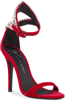 Giuseppe Zanotti Crystal Suede Cocktail Sandals