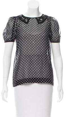 No.21 No. 21 Silk Polka Dot Print Top