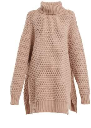 Raey Split-side roll-neck bubble-knit cashmere sweater