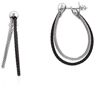 Alor Women's Black & Grey Cable Split Hoop