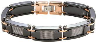 FINE JEWELRY Mens Two-Tone Stainless Steel & Black Ceramic Bracelet